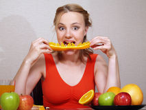Portrait of beautiful girl with fruits Stock Photo