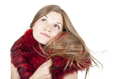 Portrait of a beautiful girl in the fur. Beautiful girl in a fur shawl Royalty Free Stock Photography