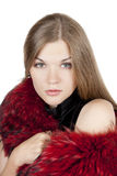 Portrait of a beautiful girl in the fur. Beautiful girl in a fur shawl Royalty Free Stock Images