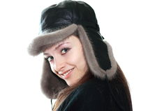 Portrait of beautiful girl in fur hat Royalty Free Stock Images
