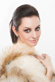 Portrait of beautiful girl in furs, rings Stock Photos