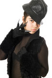 Portrait of beautiful girl in gloves with claws Royalty Free Stock Image