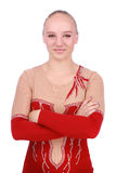 Portrait of beautiful girl gymnast in a costume. Over white background stock image