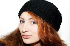 Portrait of a beautiful girl in the hat Stock Photo