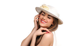 Portrait of beautiful girl in hat Royalty Free Stock Images
