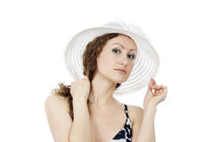 Portrait of a beautiful girl in the hat Royalty Free Stock Images