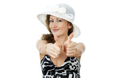 Portrait of a beautiful girl in the hat Stock Photos