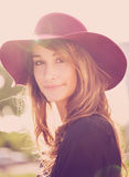 Portrait of Beautiful Girl in Hat Stock Images