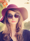 Portrait of Beautiful Girl in Hat Royalty Free Stock Photography