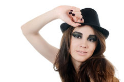 Portrait of the beautiful girl in a hat - grunge style Royalty Free Stock Photos