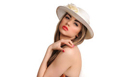Portrait of beautiful girl in hat looking in camer Royalty Free Stock Photos