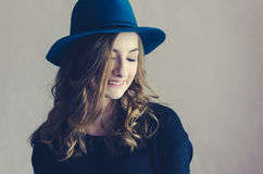 Portrait of beautiful girl in a hat Royalty Free Stock Photos
