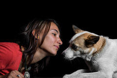 Portrait of beautiful girl with her dog Royalty Free Stock Photography