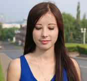 Portrait of a beautiful girl with her eyes closed Royalty Free Stock Photography