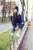 Portrait of a beautiful girl hipster Royalty Free Stock Image