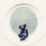 Portrait of a beautiful girl hipster Stock Photography
