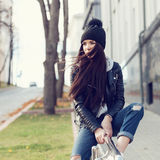 Portrait of a beautiful girl hipster Royalty Free Stock Photography