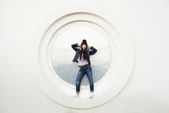 Portrait of a beautiful girl hipster Stock Images