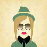 Portrait of a beautiful girl hipster Royalty Free Stock Photo