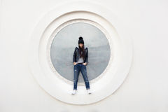 Portrait of a beautiful girl hipster Royalty Free Stock Images