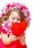 Portrait of a beautiful girl holding a heart Royalty Free Stock Images