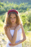 Portrait of a beautiful girl with  hoop on head Royalty Free Stock Photography
