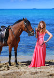 Portrait of the beautiful girl with horse Royalty Free Stock Images