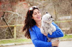 Portrait of beautiful girl hugging her  dog Royalty Free Stock Photography