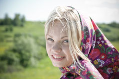 Portrait  beautiful girl in  kerchief Stock Images
