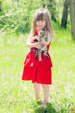 Portrait of beautiful girl with kitten. Royalty Free Stock Photography