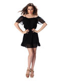 Portrait of a beautiful girl in a little black dress Stock Photography