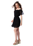 Portrait of a beautiful girl in a little black dress Royalty Free Stock Photos