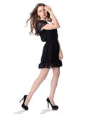 Portrait of a beautiful girl in a little black dress Royalty Free Stock Images
