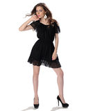 Portrait of a beautiful girl in a little black dress Royalty Free Stock Photography