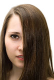 Portrait of beautiful girl with long hair on face Stock Photography