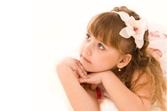 Portrait of a beautiful girl lying dreming Royalty Free Stock Photo