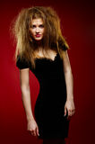 Portrait of the beautiful girl with a mad hairdres. Portrait of the beautiful girl stock photography