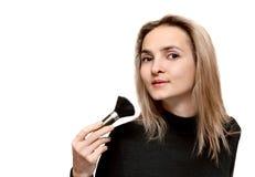 Portrait beautiful girl with make-up brush Royalty Free Stock Image