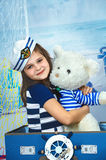 Portrait of a beautiful girl, marine theme Royalty Free Stock Images