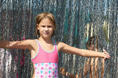Portrait of a beautiful girl with metal chain Stock Images