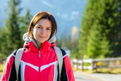 Portrait of beautiful girls in the mountains. royalty free stock photography