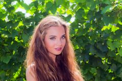 Portrait beautiful girl on nature Royalty Free Stock Photography