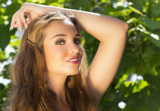 Portrait beautiful girl on nature Royalty Free Stock Images