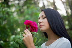 Portrait of a beautiful girl. On the nature Stock Photography