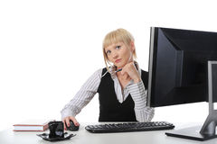 Portrait of a beautiful girl  in the office. Royalty Free Stock Image