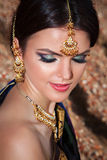 Portrait of beautiful girl with oriental make-up Royalty Free Stock Photos