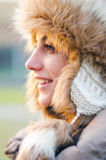 Portrait of the beautiful girl outdoor in winter. Portrait of the beautiful girl outdoor on sunny winter day Royalty Free Stock Images