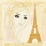 Portrait of a beautiful girl in Paris Stock Photo