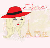 Portrait of a beautiful girl in Paris stock illustration