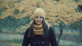 Portrait of a beautiful girl in a park in autumn Stock Images
